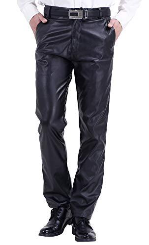 DUOLUNJINDUN Herren Bikerjeans PU Leder Bikerhose Wasserdichte Lederhose Weich und Atmungsaktiv - Schwarz Größe 42