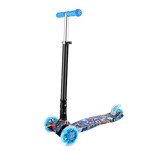 3 Wheeled Scooter, FONTE KS3 Foldable Scooter for 3-12 Years Old, PU Led Light Wheels, Adjustable Height, Anti-Slip Deck, Back Wheel Brake, Maximum Load of 110 lb (Blue)