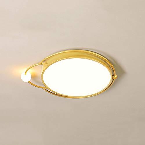 Xungzl Moderno y simple acabado dorado de montaje en descarga, luz de techo, estilo nórdico de tres colores, Lámparas de techo de ahorro de energía circular, adecuada para accesorios de luz en habitac