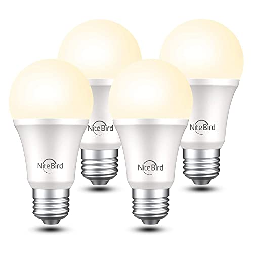 Smart Light Bulbs, Nitebird Dimmable LED Bulbs Work with Alexa and Google Home, 2700K Warm White 800 Lumens WiFi Light Bulbs, A19 E26 75W Equivalent, 2.4GHz WiFi Only, No Hub Required, 4 Pack