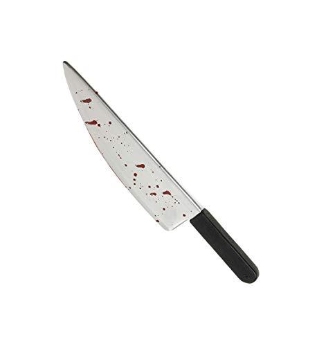 Luxuspiraten - blutverschmiertes Messer, 48cm, perfekt für Jede Halloween und Karnevals Party, Silber