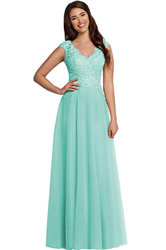 YORFORMALS Women's Pleated Chiffon Bridesmaid Dress Lace Appliques Long V-Neck Formal Prom Gown Size 16 Tiffany Blue