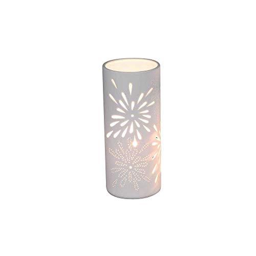 Tischlampe Nachttischlampe Porzellanlampe weiß Zylinder mit Durchbruchmuster