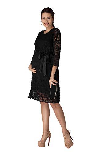 M.M.C. Laila koronkowa sukienka ciążowa - damska sukienka ciążowa z koronki, sukienka wieczorowa, koktajlowa na wesele, do urzędu stanu cywilnego - długość do kolan