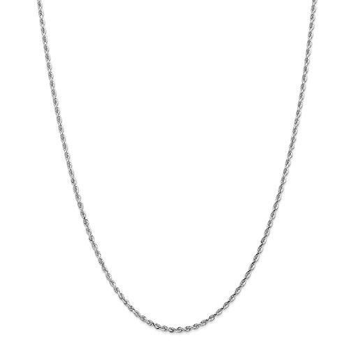 14K bianco oro 2.25mm corda moschettone catena collana, 55,9cm