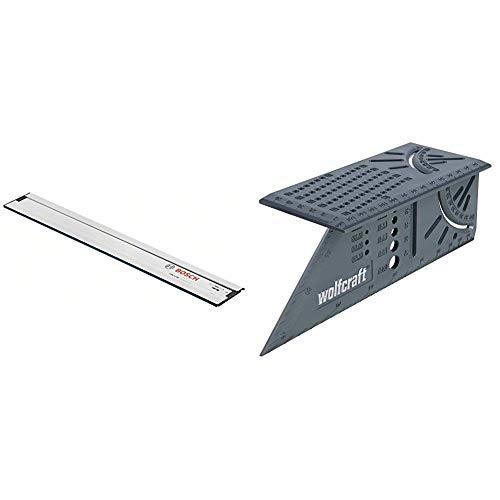 Bosch Professional Führungsschiene FSN 1100 (1,10 m Länge, Zubehör für GCE-Kreissägen von Bosch Professional) & Wolfcraft 5208000 3D-Gehrungswinkel (150 x 275 x 66 mm), im Karton