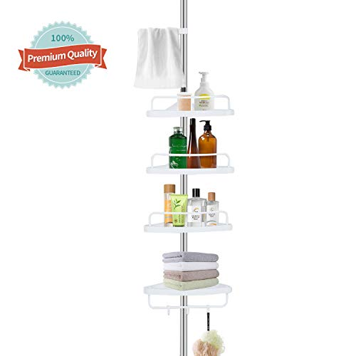YEETE HOME Constant Tension Corner Shower Caddy Pole, Rustproof Stainless Steel, 4 Adjustable Shelves, Sturdy and Strong, White, 3.5 to 9.0 ft
