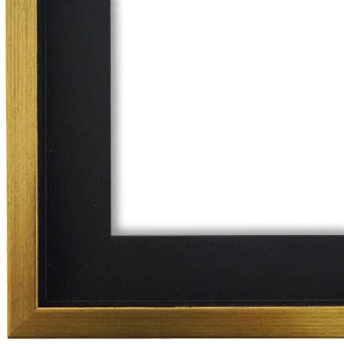 Schattenfugenrahmen Bilderrahmen Schwarz Gold 60 x 80 - 60 x 80 cm - Modern, Shabby, Vintage - Alle Größen - handgefertigter Holz Rahmen für Bilder - Leinwand auf Keilrahmen oder Platte - LR - Udine