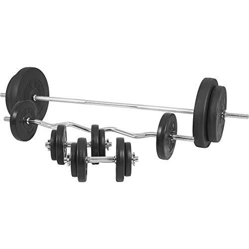 GORILLA SPORTS® Hantel-Set 100 kg Kunststoff mit Langhantelstange, Kurzhanteln, Curlstange, Gewichten und Sternverschlüssen