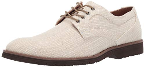 STACY ADAMS Mens Eli Textured Canvas Lace-Up Oxford, Cream, 10.5 M US
