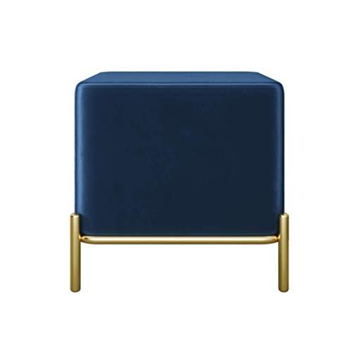 Interieur gebruik salon velvet sofa, modern ronde zachte woonkamersofa bank, rest kruk met gouden metalen poten barkruk blauw