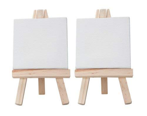 KABEER ART Mini Display Easel with Canvas Board, 10x10 cm - Pack of 2