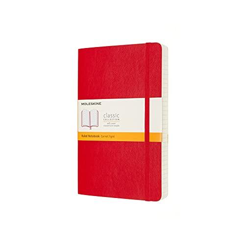 Moleskine - Klassisches Notizbuch, Linierte Seiten, Softcover und elastischer Verschluss, Größe 13 x 21 cm, Farbe scharlachrot, 400 Seiten