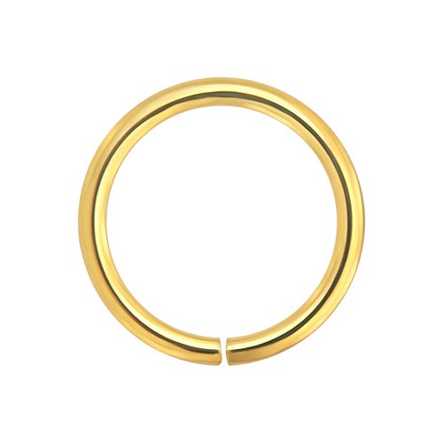 14K Solid Gelb Gold 18-Gauge - 8MM Durchmesser Nahtlose kontinuierliche offene Hoop Nasenring Nase Piercing