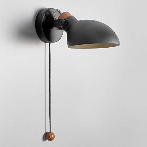 Lyghtzy® Applique murale esthétique en fer forgé et bois au design scandinave avec interrupteur à tirette pour salon Salle de lecture (Noir)