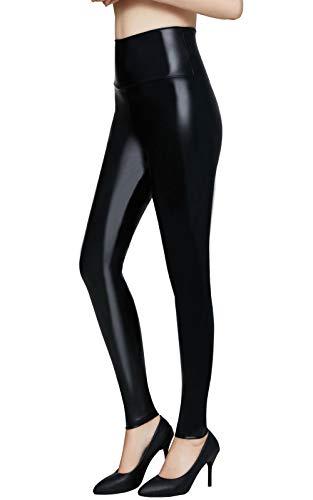 Pelisy Leggings Cuero Mujer Negro Cintura Alta Skinny Sexy Sintetico PU Efecto Pantalones