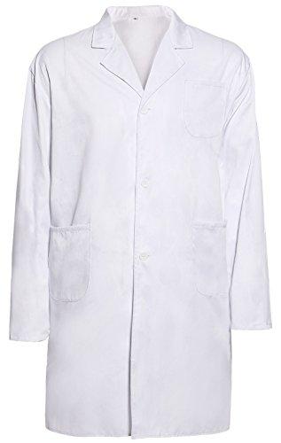 Surepromise - Bata de laboratorio - chaqueta - Unisex adulto blanco blanco Large