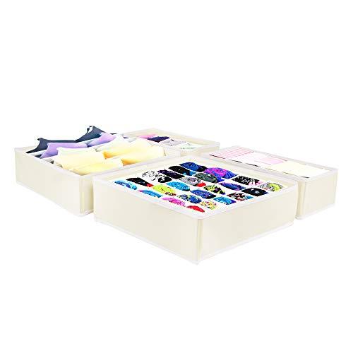 SPRINGOS cajas de almacenamiento, separadores de cajones, organizador de cajones de 24 celdas para calcetines, corbatas, ropa interior, accesorios pequeños, sistema de organización plegable (crema)