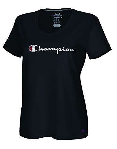 Champion Damen Vapor Cotton V-Neck Tee T-Shirt, schwarz, 2X