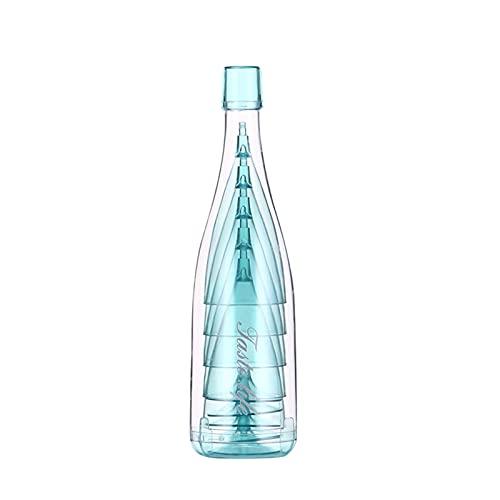 YLL Conjunto de combinación de Copa Redonda Familia práctica Cocktail Transparente Frío Bebida Jugo Cerveza Familia Regalos de Plástico Vidrio (Color : Azul)