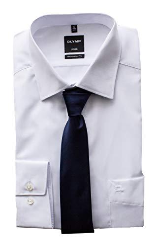 OLYMP Herrenhemd, Weiß Modern Fit mit passender Krawatte, Bügelfrei (40)