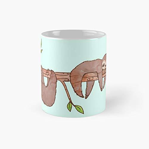 Bambino bradipi appeso su albero modello classico tazza migliore divertente caffè 12oz per donne e uomini
