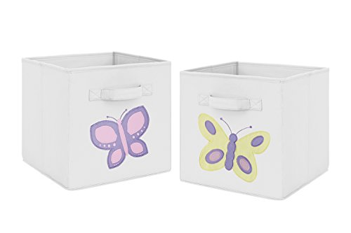 Pink and Yellow Butterfly Foldable Fabric Storage Cube Bins Boxes Organizer Toys Kids Baby Childrens for Collection by Sweet Jojo Designs - Set of 2