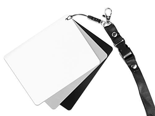Scheda grigia per bilanciamento del bianco manuale e misurazione dell esposizione. Con la carta di riferimento in bianco e nero. Pratica fascia toracica Riflette il 18% della luce.
