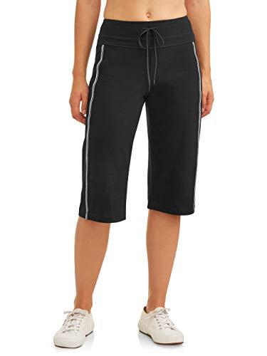 Athletic Works Women's Dri-More Core Striped Bermuda 17 Below Knee Shorts Activewear, Black, XXL