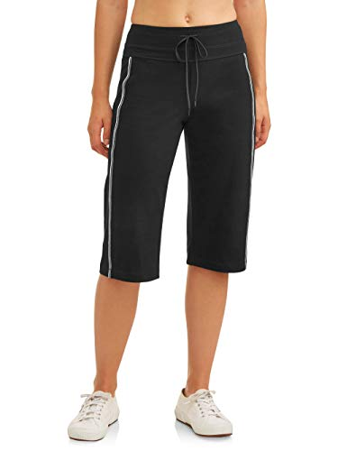 Athletic Works Women's Dri-More Core Striped Bermuda 17' Below Knee Shorts Activewear, Black, XXL