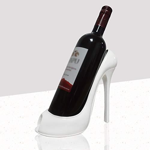 Hengqiyuan Soporte De Botella De Vino De Zapato Alto, Estante De Vino Decoración del Hogar Estante De Vino Decoración Creativa Ornamentos Artesanía Home Bar,Blanco