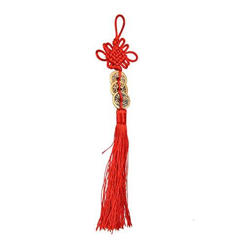LiuADNIKjing L Antiguo 1/2/3/5/6 Moneda De Cobre Rojo Nudo Feng Shui Riqueza Símbolo Auspicioso Decoración del Coche del Hogar 5 Tres Tipostejidas A Mano