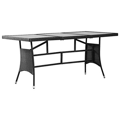 Festnight- Poly Rattan Gartentisch Esstisch Glastisch Gartenm?Bel Tisch | Glas Tischplatte PE-Rattan und Stahlrahmen | Schwarz 170 x 80 x 74 cm