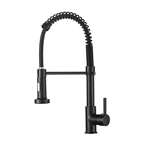 Kitchen Faucet, Black Kitchen Sink Faucets with Pull Down Sprayer, Single Handle Stainless Steel Faucets for Kitchen Sinks, Dual Function Spray Head, Farmhouse Kitchen Faucets