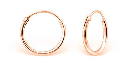 DTPsilver® KLEIN Creolen Ohrringe 925 Sterling Silber Rosen-Gold überzogen - Dicke 1.2 mm - Durchmesser 14 mm