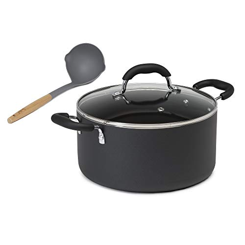 Goodful Aluminum Non-Stick Dutch Oven With Tempered Glass Steam Vented Lid and Nylon Soup Ladle, Dishwasher Safe Cookware, Made Without PFOA, 5.5-Quart Stock Pot, Charcoal Gray