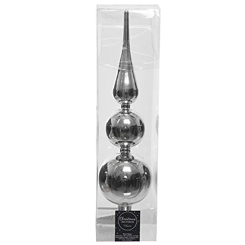 CRAFTY CAPERS SALE - 35cm Silver Glass Finial Christmas Tree Topper Decoration