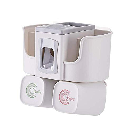 YZHM Armacando el dispensador de Pasta de Dientes montado en la Pared, con el Soporte del Cepillo de Dientes del baño con 2 Tazas y Pendientes de Pasta de Dientes automática Que Ahorra Espacio