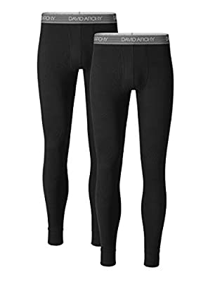 DAVID ARCHY Men's 2 Pack Soft Cotton Thermal Pants Rib Stretchy Base Layer Thermal Underwear Bottoms Long Johns Leggings (M, Black)