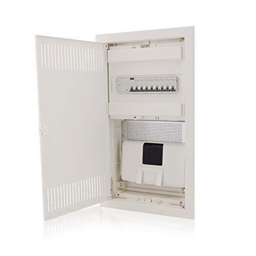 Multimediaverteiler & Sicherungskasten Kombi Unterputz 592x346x92mm 1-reihig für 12+2 Module Verteiler IP30 Stahltür Kommunikationsverteiler