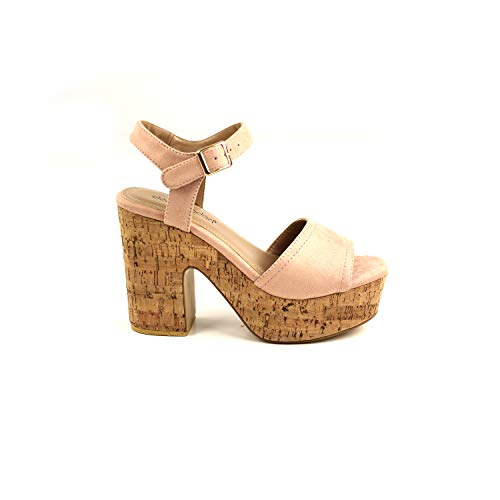 Don algodón ZKV8604012036, Zapato Sandalia tacón y Plataforma para Mujer, Beige, 36 EUR