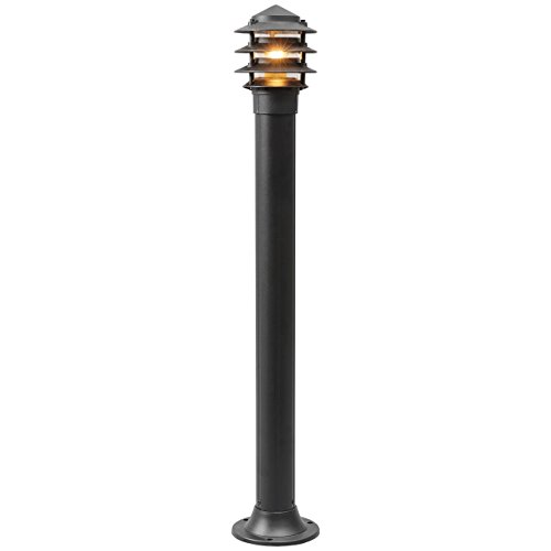 MW-Light 803040601 Lampada da Terra Per Esterno Contemporaneo in Alluminio Vetro Colore Nero IP65 E27 1 Luce x 60W
