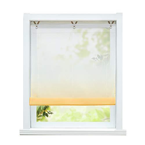 ESLIR Raffrollo ohne Bohren Raffgardine Transparent mit Ösen Farbverlauf Gardinen mit Haken Ösenrollo Modern Vorhänge Orange BxH 80x130cm 1 Stück