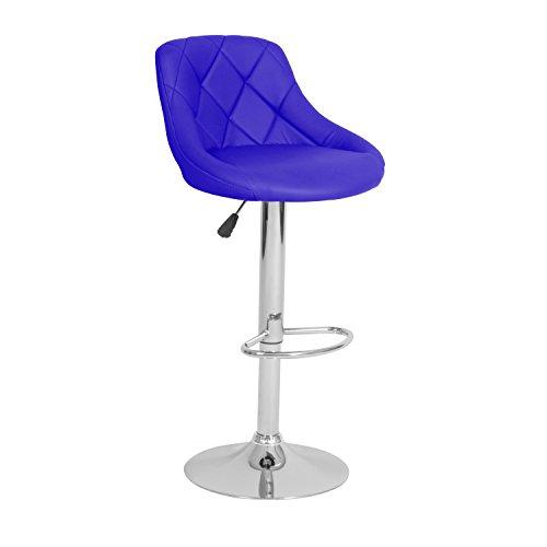Ribelli® Barhocker höhenverstellbar 2er Set halbrund, 360° drehbar-als Barstuhl sowie Tresenhocker-mit Kunstleder-Polster und Chromgestell Schale (blau)