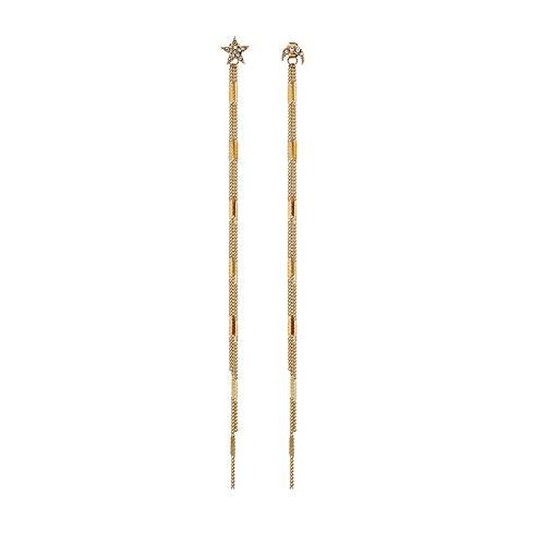 Feilai - Orecchini lunghi asimmetrici con nappe di strass, da donna, in metallo dorato e argento