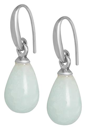 Sence Copenhagen Damen Ohrhänger Silber aus der Essential Earring-Serie mit einem Blauen Aquamarin Tropfen Anhänger Messing versilbert - A517