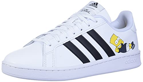 adidas mens Grand Court Sneaker, White/Black/White, 9 US