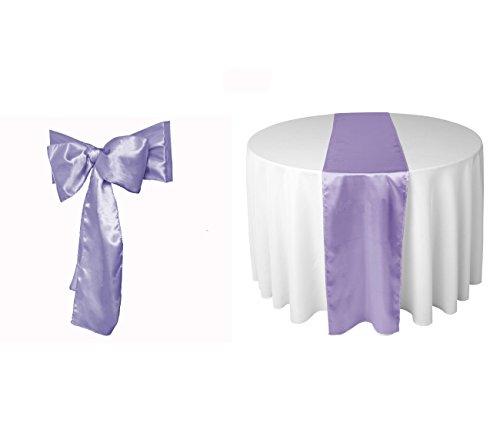 Elina Home Lavender Satin 10 Table Runner & 50 Combo of TableRunner & Chair Bow Sash for Wedding