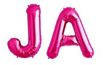 HS 86CM Uni Pink Folienballon MEGA Buchstaben JA Heliumerfüllung