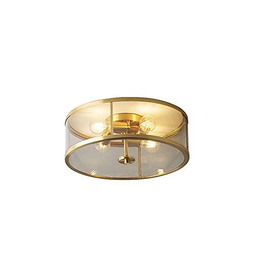 WFZRXFC Ideas de lujo moderno, luz de techo de montaje semi empotrado Lámpara de techo redonda de latón con borde dorado Iluminación de techo para el hogar 4 * E27 Para dormitorio, sala de estar, sala